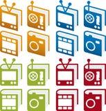 Conjunto del icono de los libros de los media Imagen de archivo libre de regalías