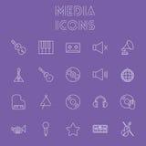 Conjunto del icono de los media Foto de archivo