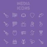Conjunto del icono de los media Fotos de archivo