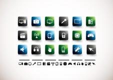 Conjunto del icono de los media | Alto lustre imágenes de archivo libres de regalías
