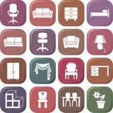 Conjunto del icono de los muebles Imagenes de archivo