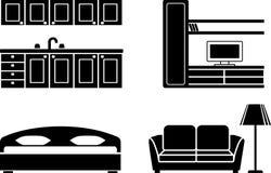 Conjunto del icono de los muebles Foto de archivo libre de regalías