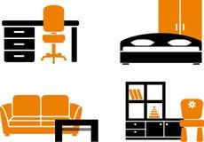 Conjunto del icono de los muebles Imágenes de archivo libres de regalías