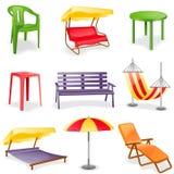 Conjunto del icono de los muebles del jardín Imagen de archivo libre de regalías