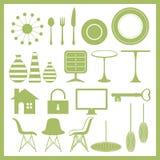 Conjunto del icono de los muebles y de las mercancías caseras Foto de archivo libre de regalías