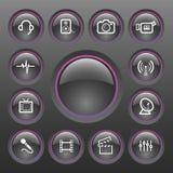 Conjunto del icono de los multimedia del vector Imagen de archivo