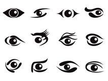 Conjunto del icono de los ojos del extracto Imágenes de archivo libres de regalías