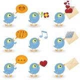 Conjunto del icono de los pájaros de la historieta Imágenes de archivo libres de regalías