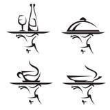 Conjunto del icono de los restaurantes Imagenes de archivo