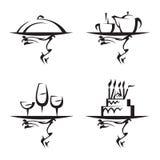 Conjunto del icono de los restaurantes Imagen de archivo