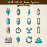 Conjunto del icono de los símbolos de la potencia del drenaje de la mano del vector Foto de archivo libre de regalías