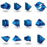 Conjunto del icono de Media Player 3D Foto de archivo libre de regalías