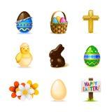 Conjunto del icono de Pascua Imagenes de archivo