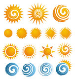 Conjunto del icono de Sun Fotografía de archivo libre de regalías