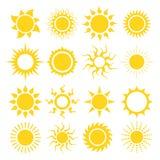 Conjunto del icono de Sun Imagen de archivo libre de regalías