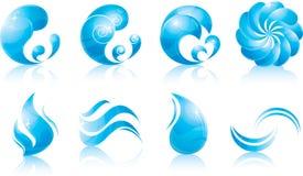 Conjunto del icono del agua y de la onda