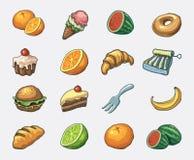 Conjunto del icono del alimento Fotografía de archivo libre de regalías