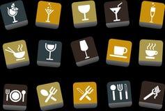 Conjunto del icono del alimento Fotografía de archivo