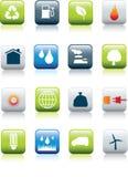 Conjunto del icono del ambiente de Eco Imágenes de archivo libres de regalías