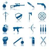 Conjunto del icono del arma Fotografía de archivo