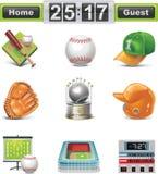 Conjunto del icono del béisbol/del beísbol con pelota blanda del vector Foto de archivo libre de regalías