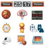 Conjunto del icono del baloncesto del vector stock de ilustración