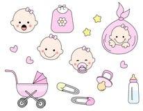 Conjunto del icono del bebé stock de ilustración