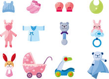 Conjunto del icono del bebé de la historieta buen Imagen de archivo libre de regalías