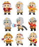 Conjunto del icono del bombero de la historieta Imágenes de archivo libres de regalías