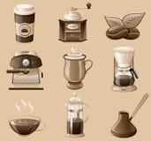 Conjunto del icono del café. Imagen de archivo libre de regalías