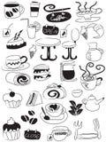 Conjunto del icono del café y del té del Doodle Fotografía de archivo