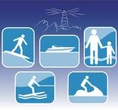 Conjunto del icono del centro turístico del mar. Imagenes de archivo