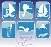 Conjunto del icono del centro turístico del mar. Ilustración del vector. Fotos de archivo libres de regalías