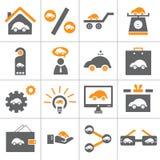 Conjunto del icono del coche del Web Imagen de archivo