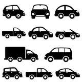 Conjunto del icono del coche y del carro Fotos de archivo