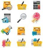 Conjunto del icono del comercio electrónico del vector Foto de archivo libre de regalías