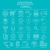 Conjunto del icono del comercio electrónico Línea iconos para la página del negocio, del desarrollo web y del aterrizaje Diseño p ilustración del vector
