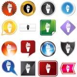 Conjunto del icono del cono de helado Foto de archivo libre de regalías