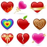 Conjunto del icono del corazón Fotos de archivo libres de regalías