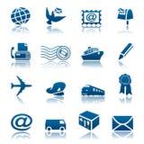 Conjunto del icono del correo y de la salida Foto de archivo libre de regalías