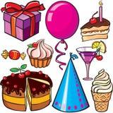 Conjunto del icono del cumpleaños Imágenes de archivo libres de regalías