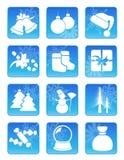 Conjunto del icono del día de fiesta de invierno stock de ilustración