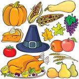 Conjunto del icono del día de la acción de gracias stock de ilustración