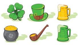 Conjunto del icono del día del St. Patrick Fotografía de archivo