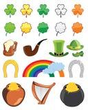 Conjunto del icono del día del St. Patricks Imágenes de archivo libres de regalías