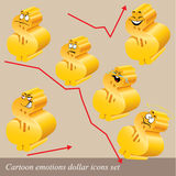 Conjunto del icono del dólar de las emociones de la historieta Fotografía de archivo libre de regalías