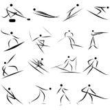 Conjunto del icono del deporte de invierno Imágenes de archivo libres de regalías