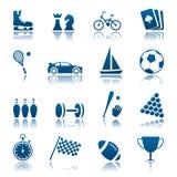 Conjunto del icono del deporte y de la manía Imagenes de archivo