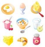 Conjunto del icono del desayuno imágenes de archivo libres de regalías