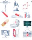 Conjunto del icono del equipamiento médico Imágenes de archivo libres de regalías